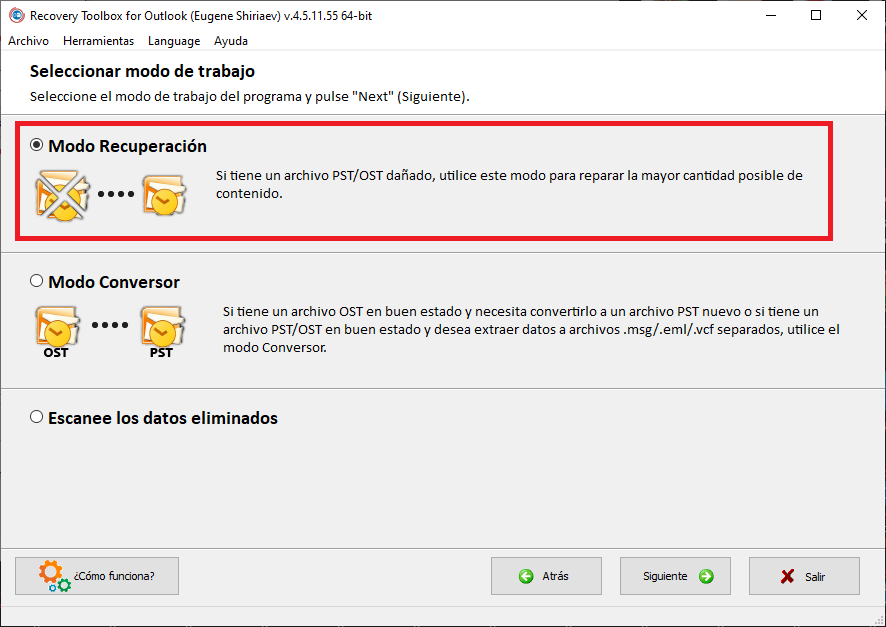 Recovery Toolbox for Outlook recuperar PST